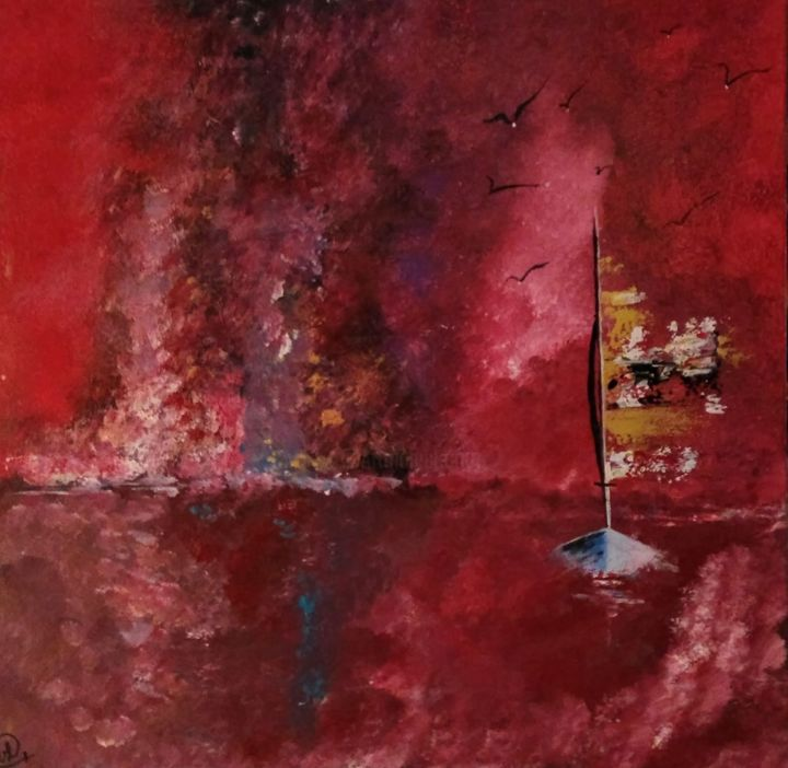 Marine rouge - Painting,  29.5x45,393.7 in, ©19 by Valérie Lavrut -                                                                                                                                                                                                                                                                      Abstract, abstract-570, Sailboat, ABSTRAIT, bateau