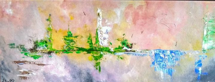 Paysage abstrait - Painting,  11.8x35.4 in, ©2019 by Valérie Lavrut -                                                                                                                                                                          Abstract, abstract-570, Landscape