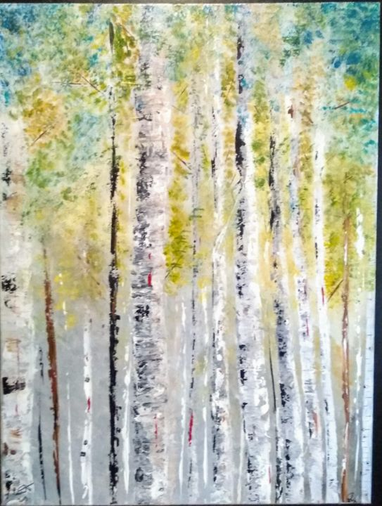 Forêt - Painting,  35.4x27.6 in, ©2019 by Valérie Lavrut -                                                                                                                                                                          Abstract, abstract-570, Tree