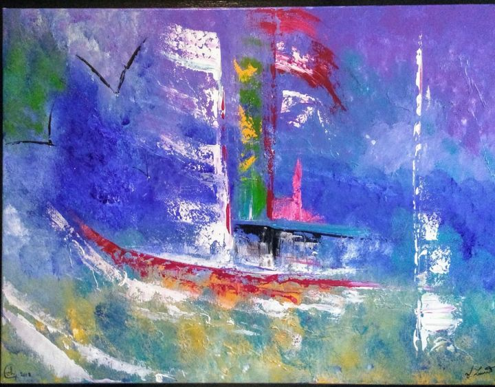 Marine - Painting,  27.6x35.4 in, ©2019 by Valérie Lavrut -                                                                                                                                                                                                                          Abstract, abstract-570, Boat, bateau