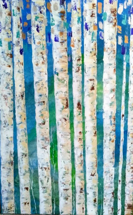 Bouleaux bleus - Painting,  45.3x29.5 in, ©2019 by Valérie Lavrut -                                                                                                                                                                          Abstract, abstract-570, Tree