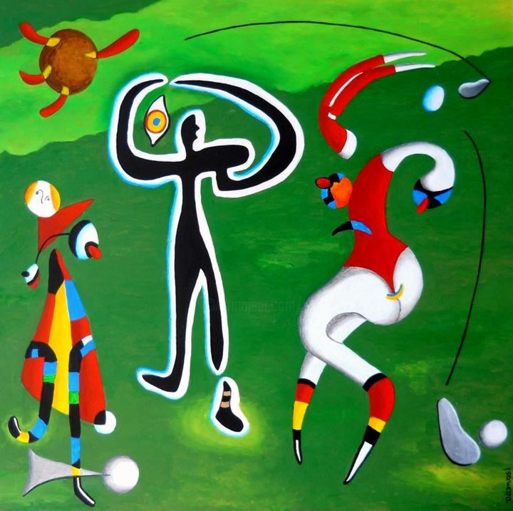 Game of champions 1 / Jeu de champions 1 - Painting,  23.6x23.6x0.4 in, ©2016 by Peter Vamosi -                                                                                                                                                                                                                                                                                                                                                                                                                                                                                                                                                                                                                                                                                                                                                                                                                                                                                                                                                                                                                                                                                                                                                                                                                                                                                                                                                                                                                      Abstract, abstract-570, Pulpboard, Body, Men, Nature, People, Sports, sport, colourfull, golf, golf game, golf painting, golfer, green, grass, meadow, modern, acrylic, VamosiArt, peter vamosi, peter vamosi vamosiart, www.vamosiart.com, harmony, harmonious, romantic, surreal, surrealsitic, figure, figurative