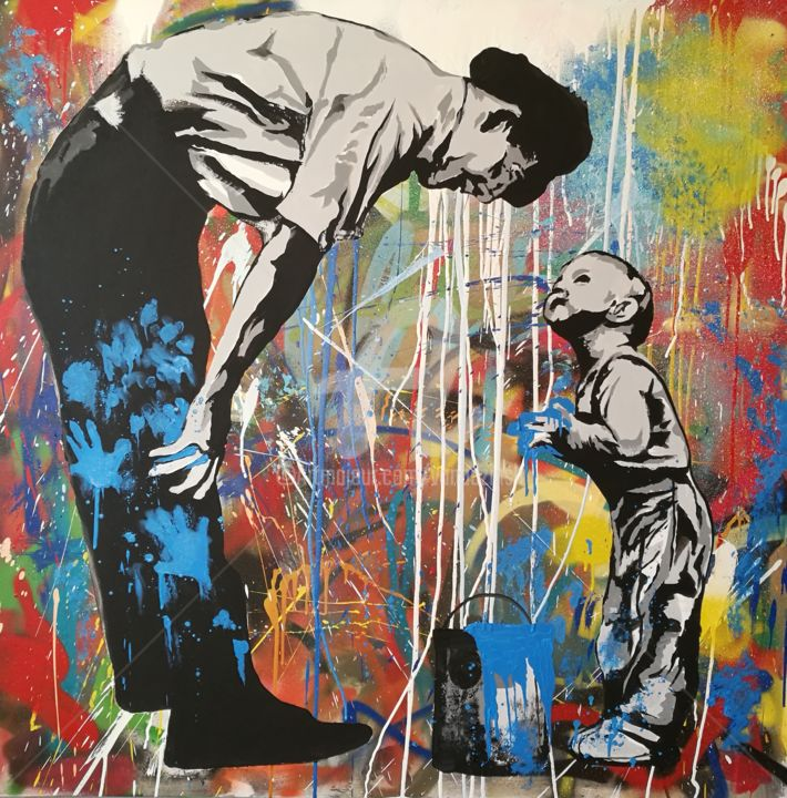 Father and son - Painting,  39.4x39.4x0.8 in, ©2016 by Rinalds Vanadziņš -                                                                                                                                                                                                                                                                                                                                                                                                                                                                                                                                                                                                                                      Abstract, abstract-570, Children, Family, Fantasy, Home, Spirituality, street art, urban art, graffiti art, family, colorful, abstract