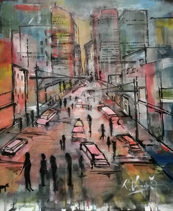 Cityscape - Painting,  25.6x23.6x0.1 in, ©2019 by Rinalds Vanadziņš -                                                                                                                                                                                                                                                                                                                                                                                                                                                                                                  Abstract, abstract-570, Cityscape, cityscape, city, street, acrylics, people, colors, classical