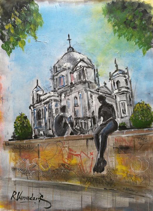Sculptures - Painting,  39.4x29.9x0.1 in, ©2019 by Rinalds Vanadziņš -                                                                                                                                                                                                                                                                                                                                                                                                                                                                                                                                              Expressionism, expressionism-591, Architecture, artwork_cat.Cities, artwork_cat.Cityscape, church, berlin, acrylic painting, sculptures, city, cityscape