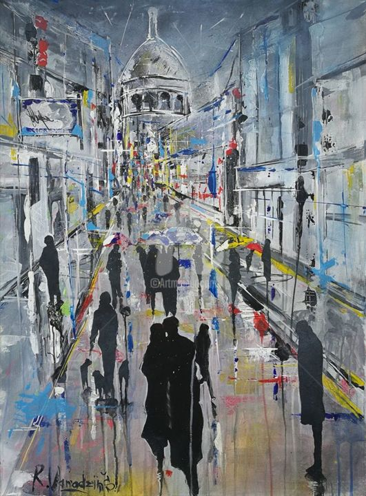 Crowd - Painting,  31.5x23.6x0.8 in, ©2019 by Rinalds Vanadziņš -                                                                                                                                                                                                                                                                                                                                                                                                                                                                                                                                                                                          Expressionism, expressionism-591, artwork_cat.Cities, artwork_cat.Cityscape, artwork_cat.Colors, People, acrylic painting, cityscape, cities, place, people, #artistsupportpledge