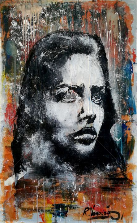 Face - Painting,  37x22.4x0.1 in, ©2017 by Rinalds Vanadziņš -                                                                                                                                                                                                                                                                                                                                                                                                                                                      Expressionism, expressionism-591, Abstract Art, Women, street art, urban art, portrait, graffiti, spray paint
