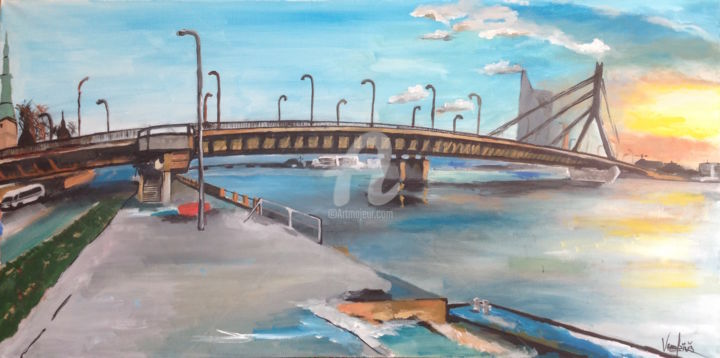 Bridge - Painting,  19.7x39.4x0.8 in, ©2015 by Rinalds Vanadziņš -                                                                                                                                                                                                                                                                                                                                                                                                                                                                              Abstract Art, Architecture, artwork_cat.Cities, Landscape, bridge, city view, cityscape, landscape, town, artwork