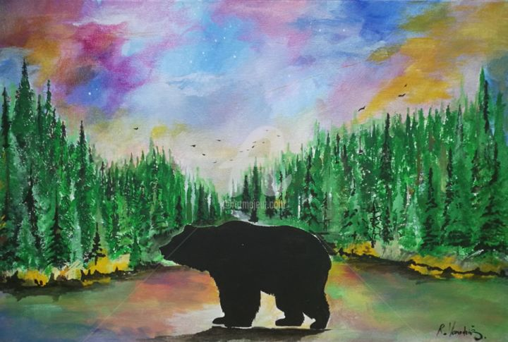 Black bear - Painting,  15.8x23.6x0.8 in, ©2020 by Rinalds Vanadziņš -                                                                                                                                                                                                                                                                                                                                                                                                                                                      Abstract, abstract-570, Animals, Fantasy, black bear, sky, landscape, nature, colorful