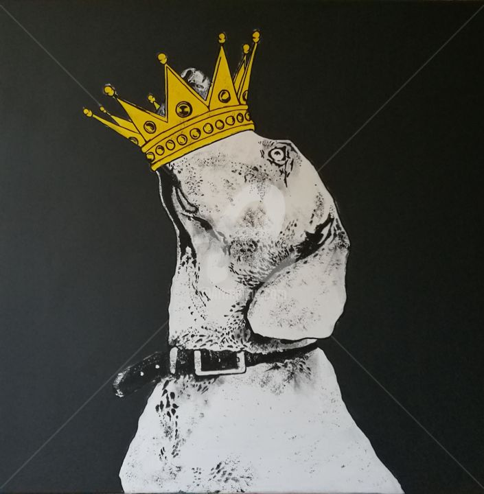 King Dog - Painting,  31.5x31.5x0.8 in, ©2019 by Rinalds Vanadziņš -                                                                                                                                                                                                                                                                                                                                                                                                                                                                                                                                                                                                                                      Illustration, illustration-600, Culture, artwork_cat.Dogs, Home, artwork_cat.Love/Romance, king, dog, crown, acrylic painting, black and white, pop, urban