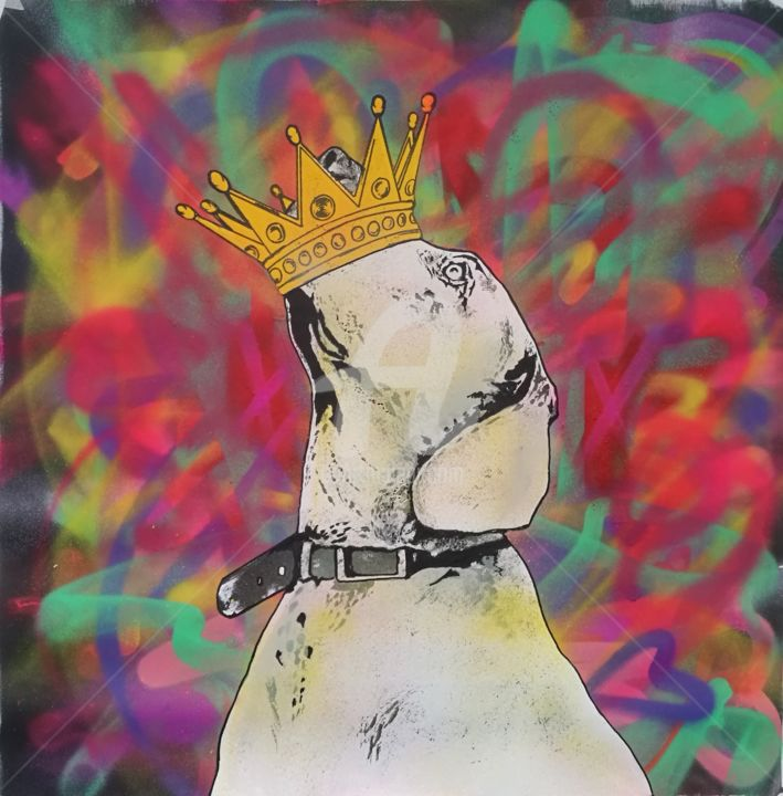 Space Dog - Painting,  33.5x33.5x0.1 in, ©2020 by Rinalds Vanadziņš -                                                                                                                                                                                                                                                                                                                                                                                                                                                      Street Art, street-art-624, artwork_cat.Dogs, dog, pop art, street art, acrylic painting, mixed media painting, rainbow