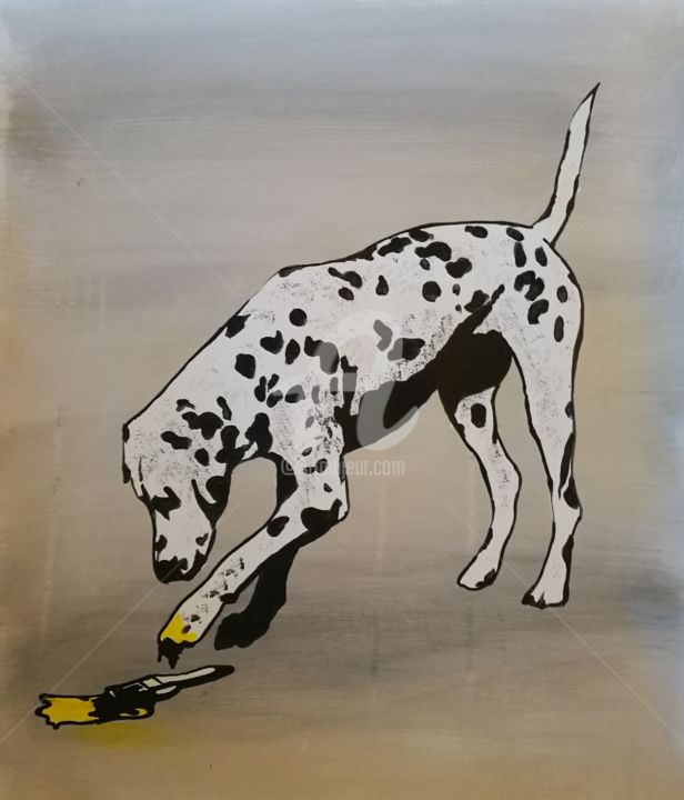 Brush - Painting,  24.4x20.9x0.1 in, ©2020 by Rinalds Vanadziņš -                                                                                                                                                                                                                                                                                                                                                                                                                                                                                                                                              Street Art, street-art-624, Animals, artwork_cat.Dogs, animal, dog, dalmatian, black and white, street art, pop art, urban art