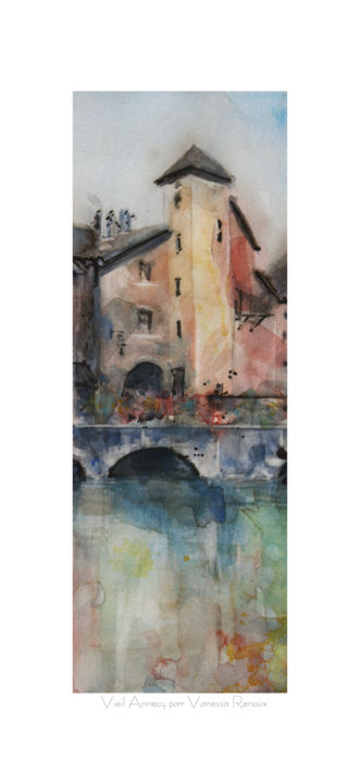 Reproduction Aquarelle du vieil Annecy et pont - Painting,  19.7x9.1 in, ©2019 by Vanessa RENOUX -                                                                                                                                                                                                                                                                                              Water, Cities, ville d'annecy, vieil annecy, vieux batiments, canaux
