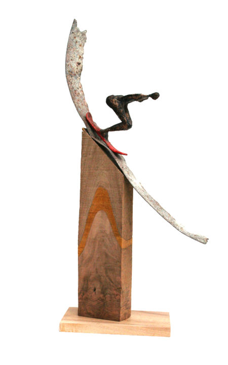 Glisse, skieuse sur piste de métal - Sculpture,  20.5x9.8x3.9 in, ©2019 by Vanessa RENOUX -                                                                                                                                                                                                                                                                                                                                                                                                                                                                                                                                                                                          Abstract, abstract-570, Fairytales, Body, Sports, Transportation, ski, snowboard, neige, montagne, glisse, skieuse