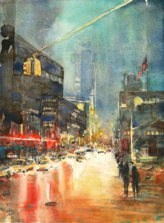 New York by Night - Painting,  15.8x11.8 in, ©2015 by Vanessa RENOUX -                                                                                                                                                                                                                                                                                                                                                                                                          Impressionism, impressionism-603, Architecture, Cities, Car, new york watercolor, aquarelle urbaine, peinture de nuit