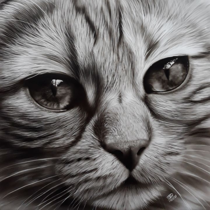 Cat - Painting,  11.8x11.8 in, ©2020 by NesDesign -                                                              Animals