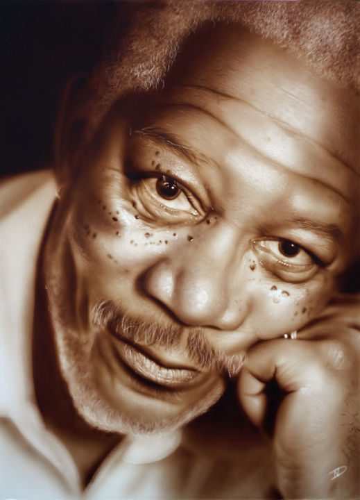 Morgan Freeman - Painting,  50x36 cm ©2013 by NesDesign -                                        Photorealism, Celebrity