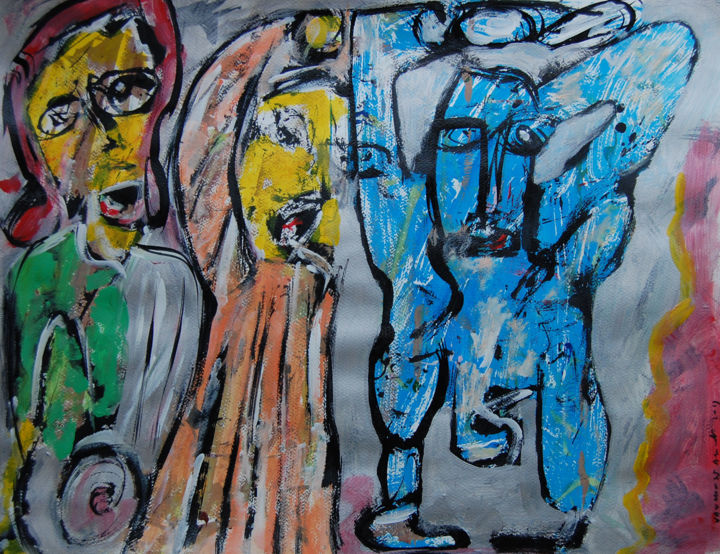 art brut: n 1216 - Painting,  25.6x19.7 in, ©2019 by jean-pierre Vanhonsebrouck -                                                                                                                                                                                                                      Outsider Art, outsider-art-1044, art brut, vanhonsebrouck