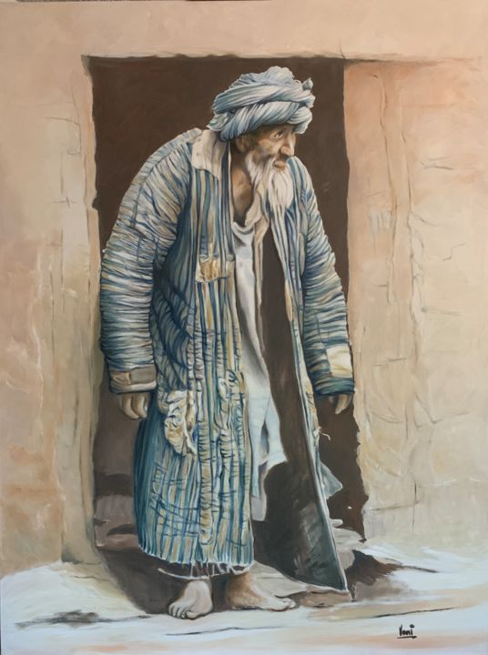 """Painting titled """"Man in cave"""" by Vani Ghougassian, Original Art, Oil"""