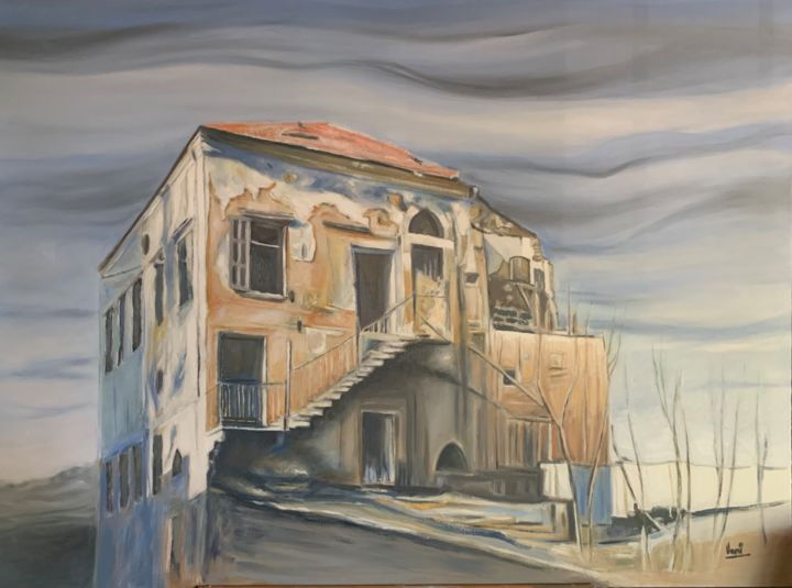"""Painting titled """"House in Beirut."""" by Vani Ghougassian, Original Art, Oil"""