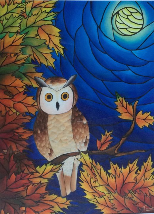 """Painting titled """"Brown owl in late a…"""" by Thenuki Perera, Original Art, Acrylic"""