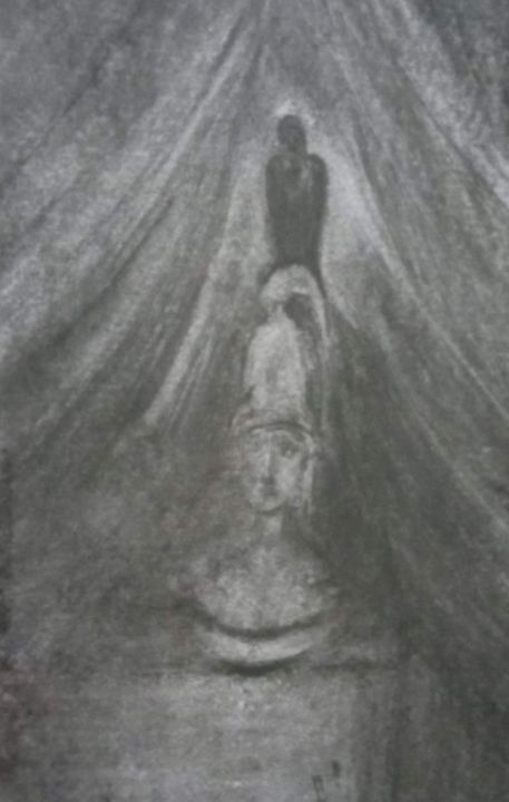 """Painting titled """"The raven and the g…"""" by Vasia Perrou, Original Art, Charcoal"""