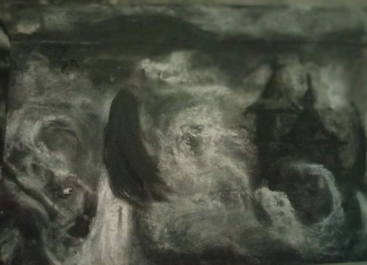 """Painting titled """"Storm"""" by Vasia Perrou, Original Art, Charcoal"""