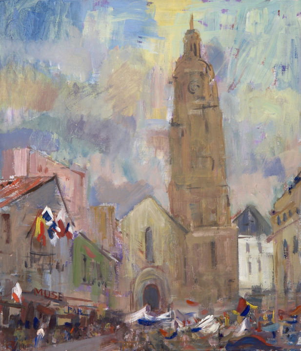 Holiday in Bressuire - Painting,  25.6x23.6x1.2 in, ©2003 by Vasily Koldin -                                                                                                                                                                          Impressionism, impressionism-603, Architecture