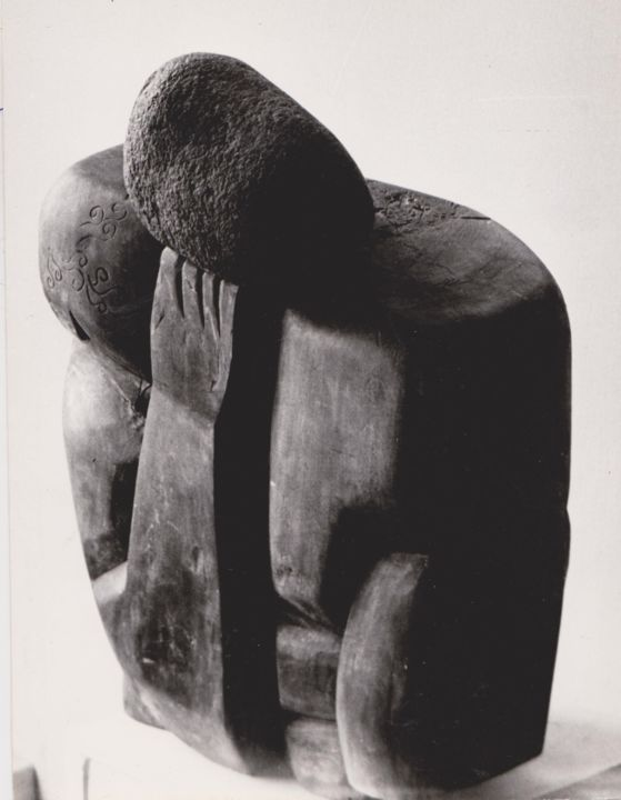 """Sculpture titled """"Sisyphus with his b…"""" by Vasyl, Original Art,"""