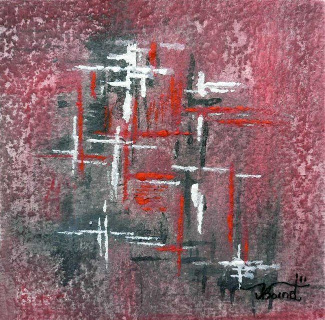 Painting,  10 x 10 cm ©2012 by Valérie Bornet -  Painting, Abstract Painting, Aquarelle, acrylique sur papier aqurelle