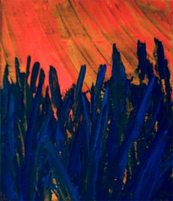 sungrass - Painting,  10x8 in ©2006 by vCasey -            acrylic abstract painting on canvas vcasey artmajeur vcasey.com art artist artiste montreal
