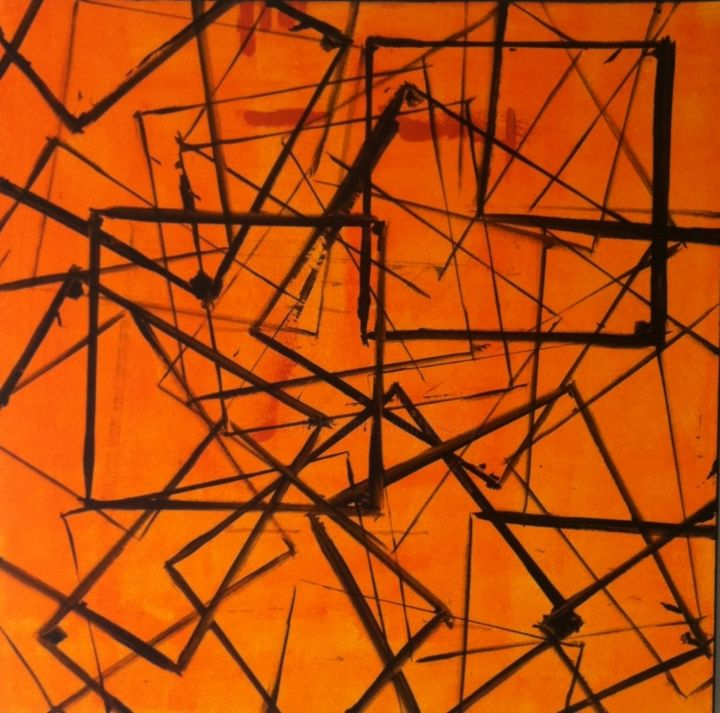 carrément orange - Painting,  1.5x30x30 in ©2013 by vCasey -                            Abstract Art, acrylic abstract painting on canvas vcasey artmajeur vcasey.com