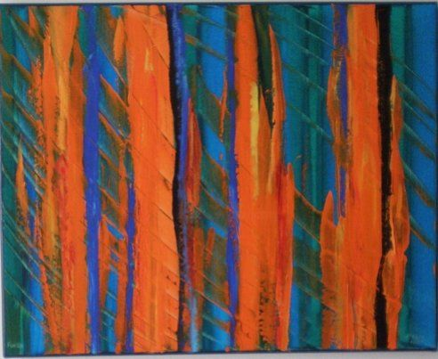 Fuego - Painting,  20x16 in ©2006 by vCasey -                            Abstract Art, acrylic abstract painting on canvas vcasey artmajeur vcasey.com
