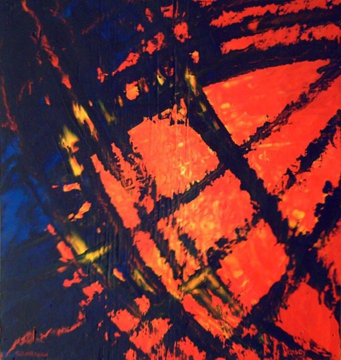 SolarGlow - Painting,  21x20 in ©2006 by vCasey -            acrylic abstract painting  vcasey artmajeur vcasey.com art artist artiste montreal