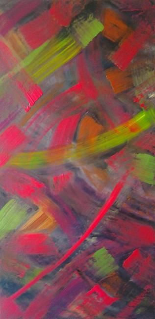 Pink Merlin - Painting,  36x18 in ©2012 by vCasey -                            Abstract Art, vcasey.com acrylic abstract painting on canvas vcasey artmajeur