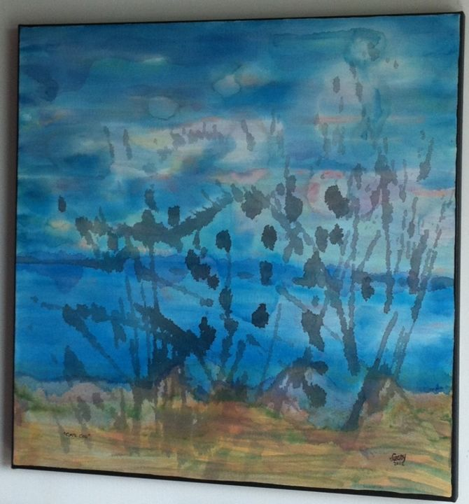 Cape Cod - Painting,  1.5x30x30 in ©2012 by vCasey -                            Beach, abstract-figurative acrylic painting on canvas by vcasey beach cape cod