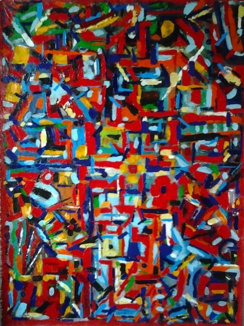 Centre Sud - Painting,  42x32 in ©2012 by vCasey -                            Abstract Art, acrylic abstract painting on canvas vcasey artmajeur vcasey.com