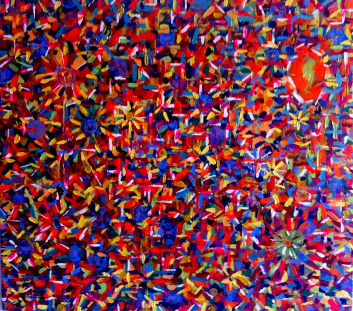Flower Power - Painting,  42.5x48x0.75 in ©2013 by vCasey -            acrylic abstract painting on canvas vcasey artmajeur vcasey.com art artist artiste montreal plywood