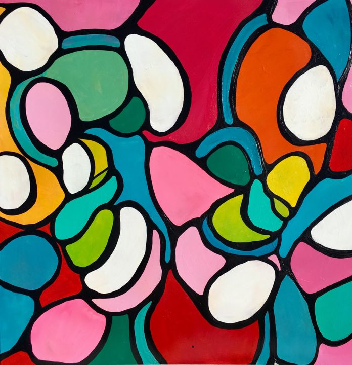 """Painting titled """"SO CLOSE, colorful…"""" by Veera Zukova, Original Art, Acrylic Mounted on Stretcher frame"""