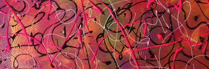 Street Art - Painting,  7.9x23.6 in, ©2014 by VéGé -                                                                                                                                                                                                                                                                                                                  Abstract, abstract-570, Abstract Art, acrylique, abstrait, grafiti