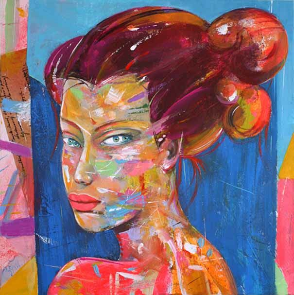 """Painting titled """"A girl with four ey…"""" by Veljko Martinovic, Original Art, Acrylic"""