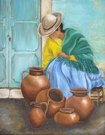 """Painting titled """"Pottery Sale"""" by Claudia Velasco, Original Art,"""