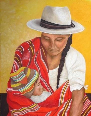 """Painting titled """"Mother Hood"""" by Claudia Velasco, Original Art,"""