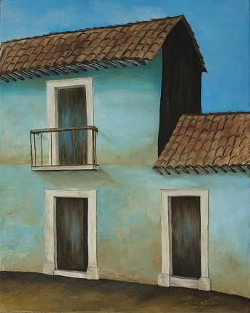 """Painting titled """"Blue House"""" by Claudia Velasco, Original Art,"""