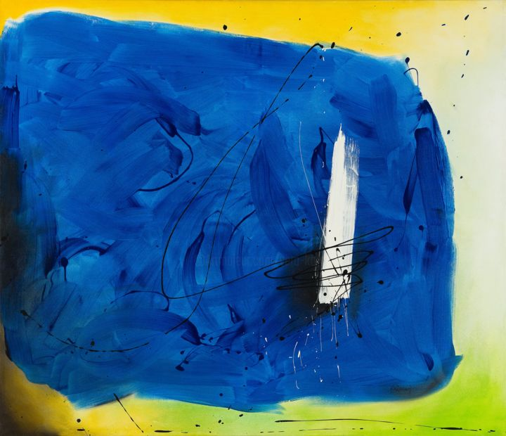 No. 107 - © 2002 No. 107, Vera Komnig, abstrakt, abstract, contemporary art, colorfield vibrant, emotional, emotional creation, modern, minimalism, blue, green, yellow, acryl, acrylic, zeitgenössische kunst, wallart, XXL, pianting, walldecor, homedecor, interiordesign Online Kunstwerke