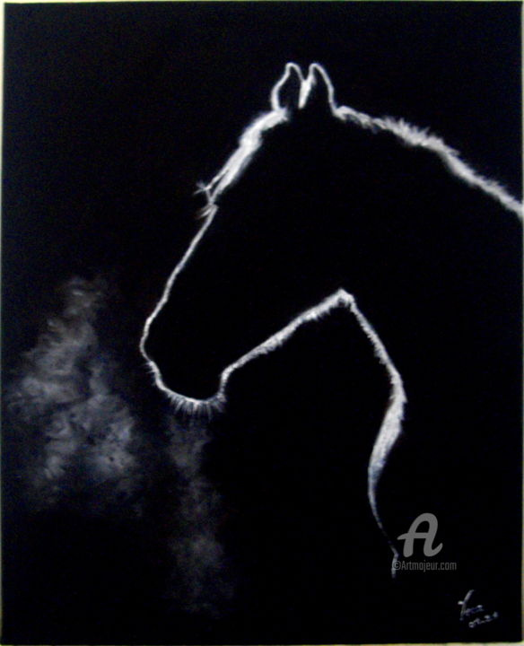 """Painting titled """"CHEVAL NOIR"""" by Vera, Original Art, Oil Mounted on Stretcher frame"""
