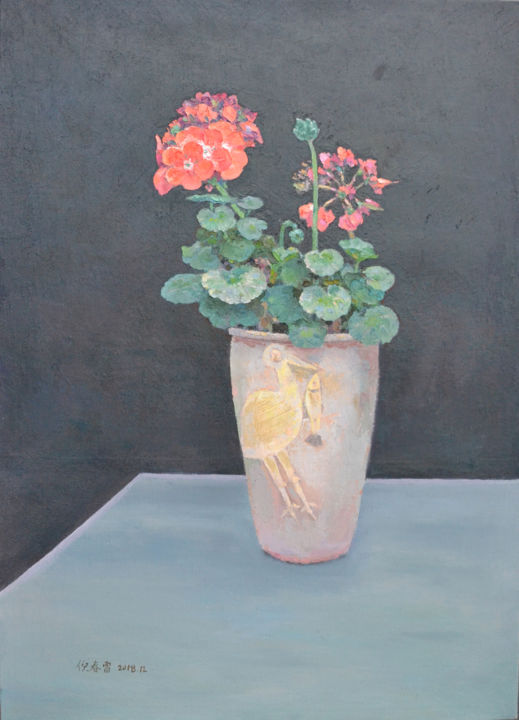 Begonia on the Table - Painting,  27.6x19.7x2 in ©2018 by Chunlei Ni -                                            Realism, Flower, Original oil painting