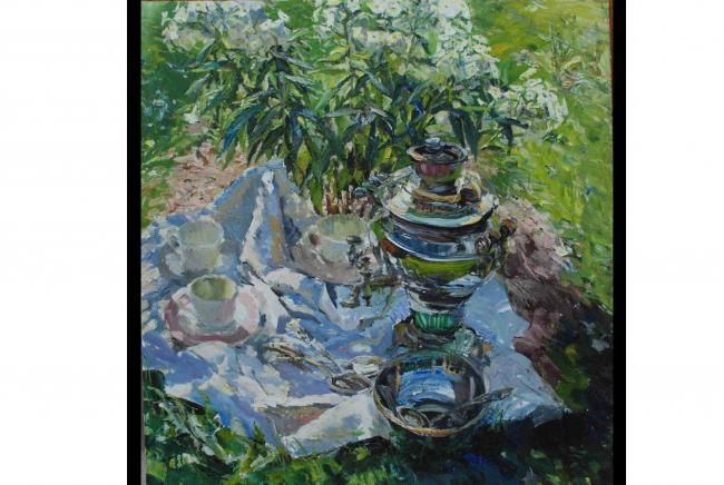 Samovar & white phloxes - Painting,  100x100 cm ©2010 by Vera Lagutenkova -            Samovar & white phloxes