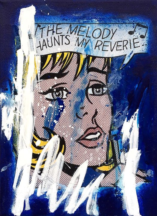 CRY ME A RIVER - Painting,  9.5x7.1x0.4 in, ©2019 by Vero Cristalli -                                                                                                                                                                                                                                                                                                                  Pop Art, pop-art-615, Pop Culture / celebrity, LICHTENSTEIN, BLUE, POPART