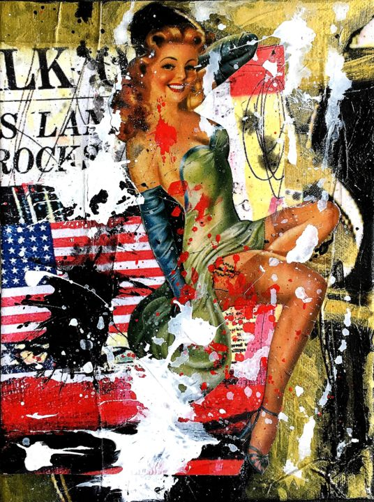 L.A COVER GIRL - Painting,  9.5x7.1 in, ©2019 by Vero Cristalli -                                                                                                                                                                                                  PIN UP, AMERICA, GOLD, AMERICAN FLAG